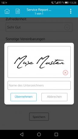 Unterschreiben Sie mit der E-Signatur direkt im mobilen Formular in der App